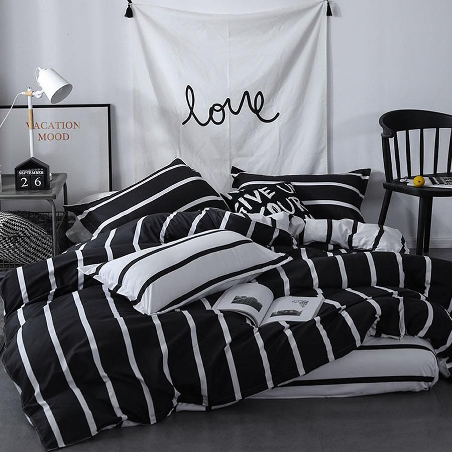 black white vertical striped comforter set