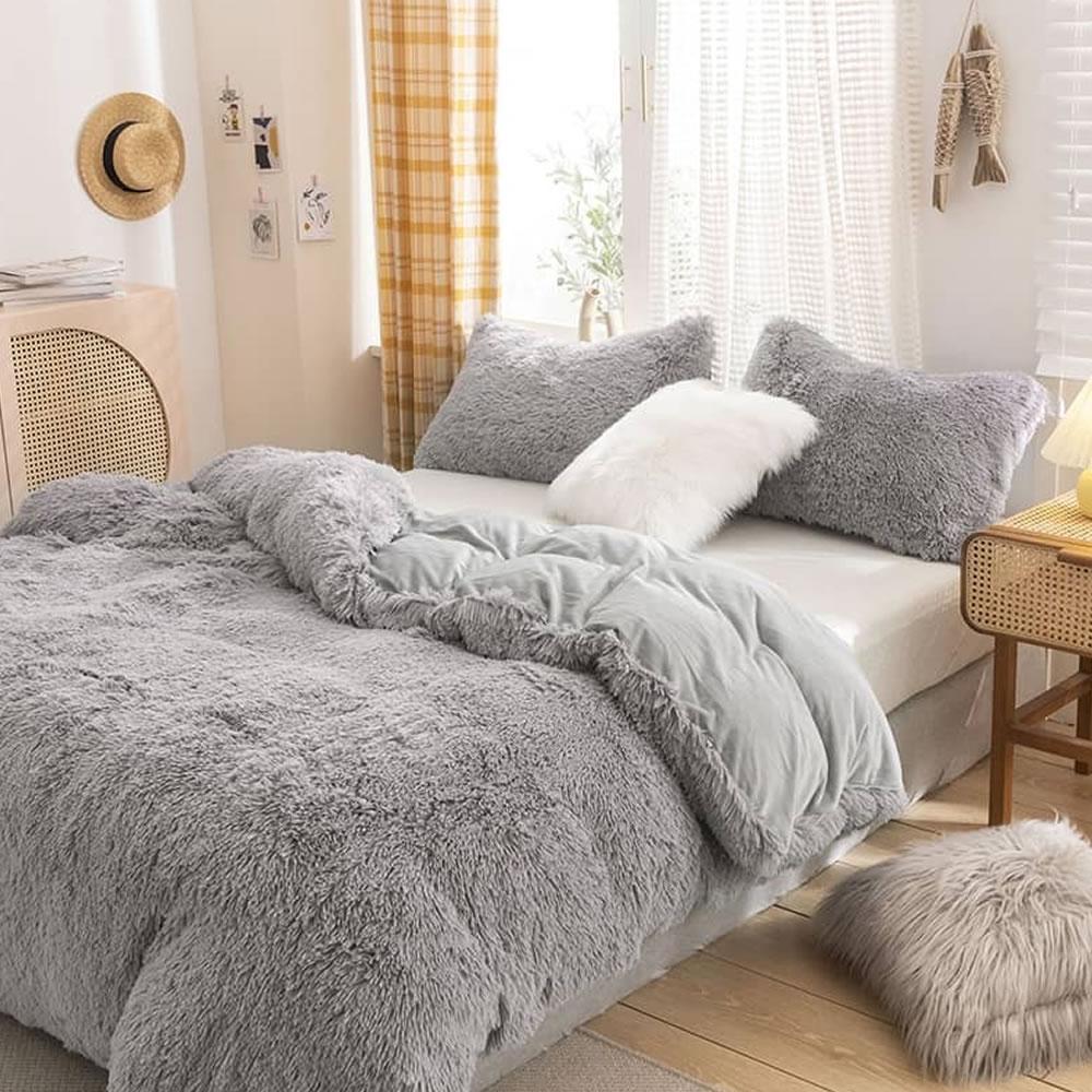 gray fleece bed sheets