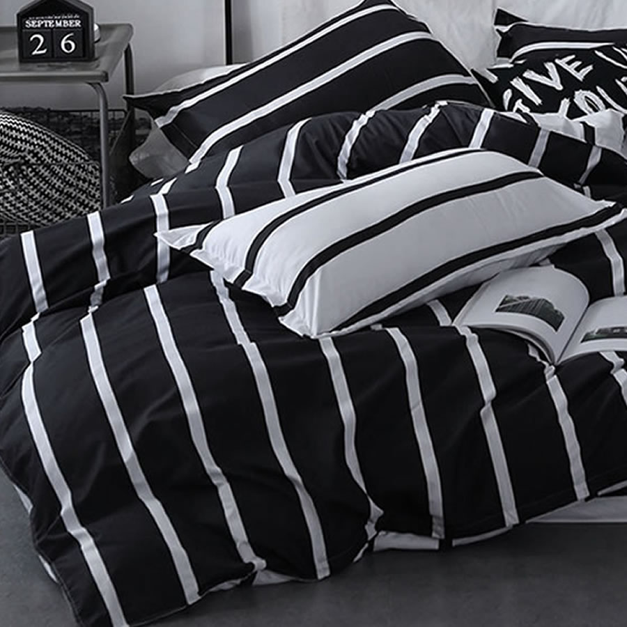striped black white comforter set