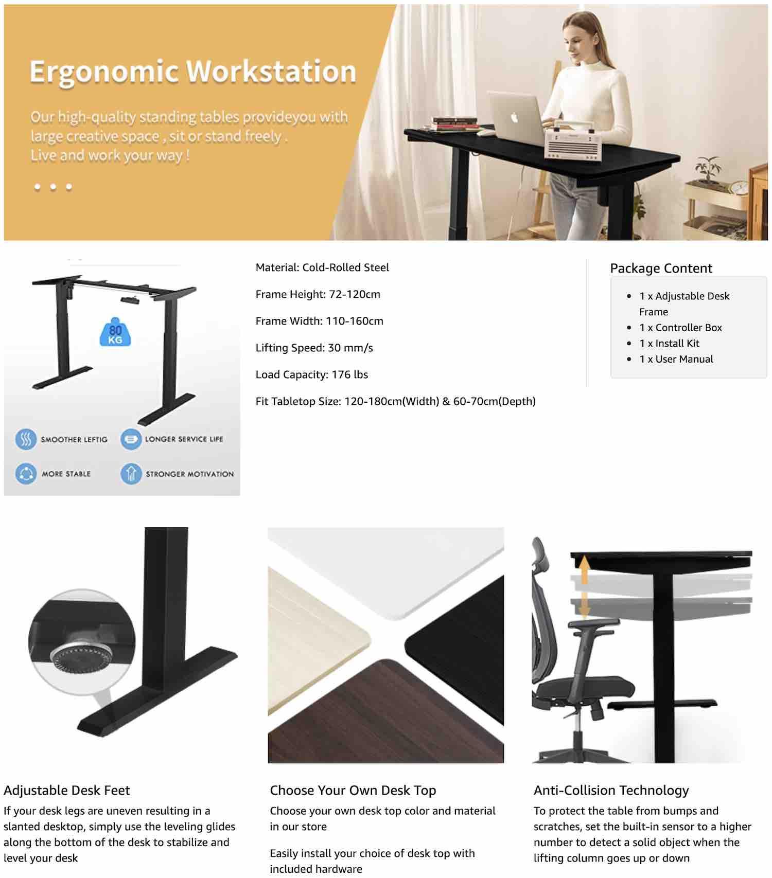 adjustable height office table